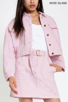 River Island Pink Light Cropped Myles Jacket