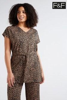 F&F Multi Orange Leopard Co-Ord Tie Waist Tunic