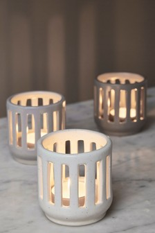 Set of 3 Cut Out Ceramic Tealight Holders