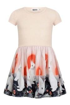 Girls Pink Organic Cotton Sunset Bunnies Dress