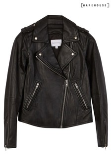 Warehouse Black Leather Biker Jacket