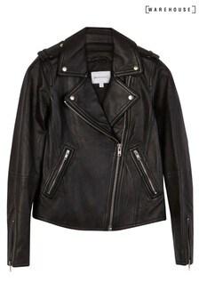 Warehouse Black Leather Biker Jacket