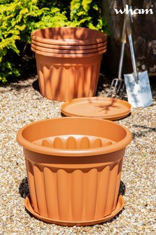 Set of 5 Vista 60cm Round Tray And Garden Planters by Wham