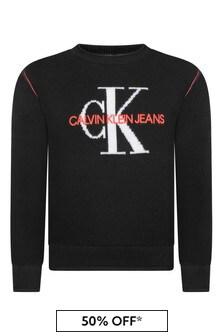 Calvin Klein Jeans Girls Black Organic Cotton Logo Sweater