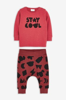 T-Shirt And Jogger Slogan Set (0mths-3yrs)