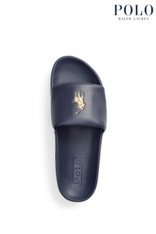 Polo Ralph Lauren Contrast Logo Leather Cayson Sliders