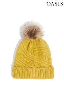 Oasis Yellow Carrie Cable Pom Beanie