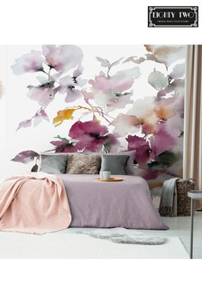 Eighty Two Smokey Plum Floral Wall Mural