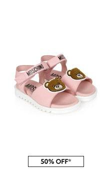 Moschino Kids Girls Pink Leather Sandals