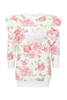 Monnalisa Baby Girls White Cotton Dress