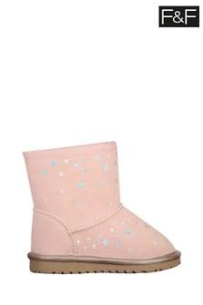 F&F Pink Girls Star Snug Boots