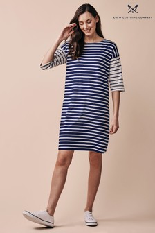 Crew Clothing Company Blue Breton Relaxed Dress