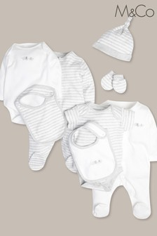 M&Co White/Grey 8 Piece Baby Starter Set