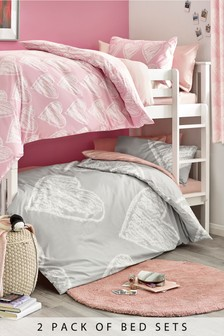 2 Pack Pink And Grey Hearts Duvet Cover and Pillowcase Set