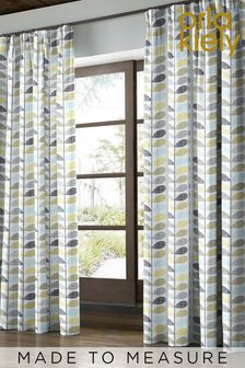 Scribble Stem Seagrass & Duck Egg Green Made To Measure Curtains by Orla Kiely