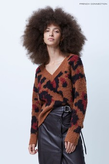 French Connection Toffee Multi Karmen Jacquard Knit V-Neck Jumper