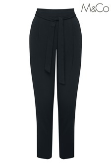&Co Navy Tie Waist Soft Trousers