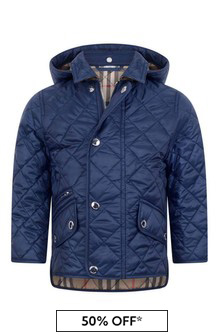 Baby Boys Navy Quilted Jacket With Hood