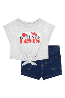 Levis Kidswear Baby Girls Grey Cotton Top And Botttoms Set