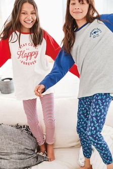 2 Pack Slogan/Floral Legging Pyjamas (3-16yrs)