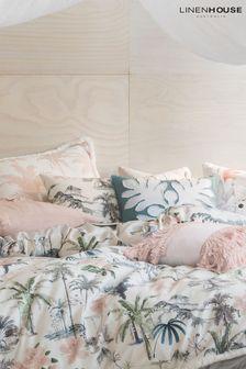 Set of 2 Linen House White Luana Palm Print Pillowcases