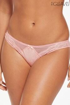 Figleaves Pink Juliette Lace Brazilian Briefs