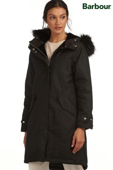 Barbour® Tartan Black Wax Faux Fur Lined Nith Parka Coat