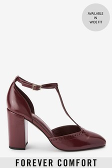 Brogue Block Heel T-Bar Shoes
