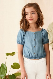 Button Through Puff Sleeve Blouse (3-16yrs)