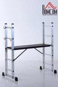 140cm Aluminium Scaffold-Style Ladder By HOMCOM