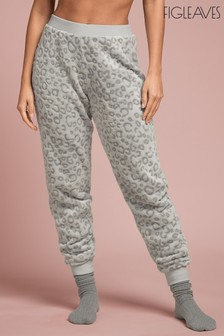 Figleaves Grey Cosy Leopard Embossed Joggers