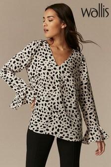 Wallis Champagne Dalmatian Flute Sleeve Shirt