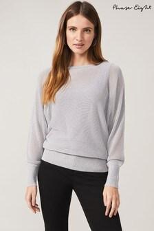 Phase Eight Grey Eydie Metallic Knit Top