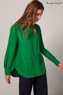 Phase Eight Green Loni Button Frill Collar Blouse