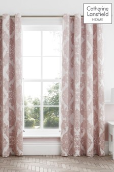 Rococo Jacquard Lined Eyelet Curtains by Catherine Lansfield