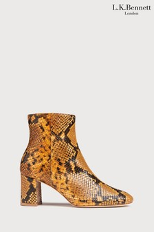 L.K.Bennett Yellow Square Toe Ankle Boots