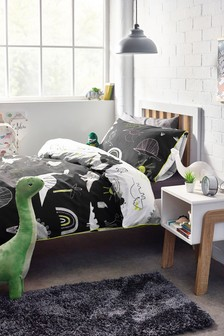 Glow In The Dark Mono Dino Duvet Cover And Pillowcase Set