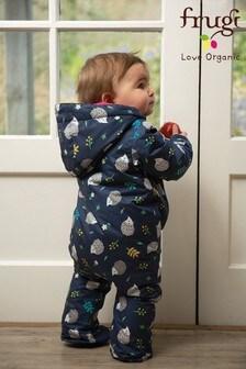 Frugi Blue Recycled Waterproof Baby Pram Suit