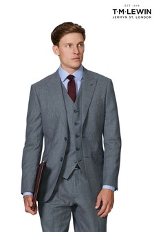 T.M. Lewin Blue Puppytooth Statement Novello Slim Fit Jacket