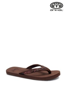 Animal Brown Swish Slim Flip Flops