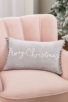 Merry Christmas Soft Velour Pom Edge Cushion