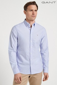 GANT Blue Slim Button Down Oxford Shirt