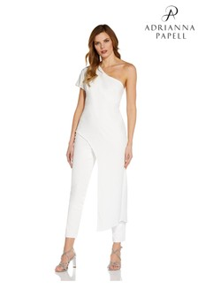 Adrianna Papell White Asymmetrical Crepe Jumpsuit