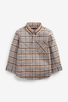 Check Long Sleeve Oxford Shirt With Flat Knit Collar (3mths-7yrs)