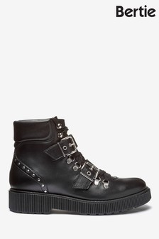 Bertie Provoked Black Leather Double Buckle Ribbed Boots