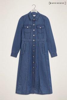 Warehouse Blue Midi Waisted Western Dress