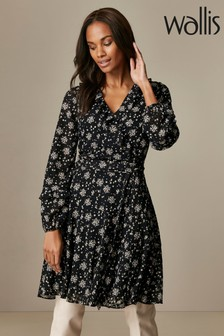 Wallis Black Ditsy Floral Dress