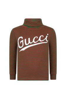 GUCCI Kids Cotton Striped Logo Turtle Neck T-Shirt