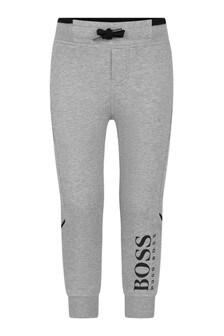 Boys Grey Marl Logo Joggers