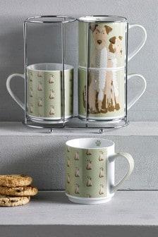 Set of 4 Digby & Doris Dog Stacking Mugs